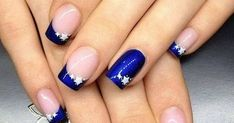 French Nail Art designs are minimal yet stylish Nail designs for short as well as long Nails. Here are the best french manicure ideas, which are gorgeous. Star Nail Designs, Fall Nail Art Designs, French Nail Designs, Simple Nail Designs, Awesome Nail Designs, Royal Blue Nails Designs, French Nails, Cowboy Nails, Nail Lacquer
