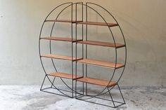 Vintage Round Room Divider with Mahogany Shelves