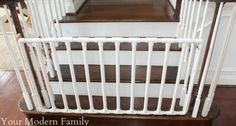 Babies always like to crawl around, and they don't know where the danger is. So DIY baby gates are very important to them. DIY Baby gates can prevent babies from climbing to dangerous places. We all love our children. Children are the first in our mi Baby Gate For Stairs, Diy Baby Gate, Baby Gates, Dog Gates, Pvc Gate, Stair Gate, Staircase Gate, Pvc Pipe Fort, Pvc Furniture