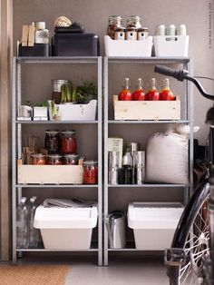 IKEA Hyllis shelves used with plastic and wooden boxes, veggies and herbs, bottles, packages Wooden Box Shelves, Ikea Shelves, Ikea Storage, Wooden Boxes, Recycling Storage, Ikea Kitchen, Kitchen Storage, Kitchen Decor, Pantry Shelving
