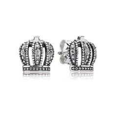 Royal Crown Earrings from Pandora Towson Town. New Pandora Charms, Pandora Earrings, Pandora Beads, Pandora Bracelet Charms, Pandora Jewelry, Crown Earrings, Stud Earrings, Silver Earrings, Pandora Collection