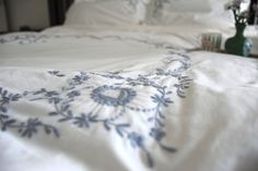 Vintage Cutwork Pattern, Grey on White Hand Embroidered Duvet Cover king