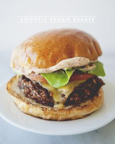 this is the first time I've thought a veggie burger looked good, must be the brioche bun | Chipotle Veggie Burger #veggies #vegetarian #sergie's
