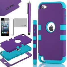 Pandamimi ULAK(TM) Hybrid 3 Layer Hard Case Cover with Silicone Shell  Inside Case for Apple iPod Touch Generation 5 Stylus Screen Protector 505cf6a985742