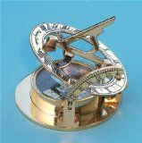 Stanley London Engraved Brass Pocket Sundial Compass with Leather Case, Personalized Sundial Compass