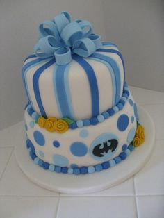 Baby Shower Cake With Batman By Pnkmun On CakeCentral.com
