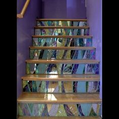 Stained glass mosaic stair risers