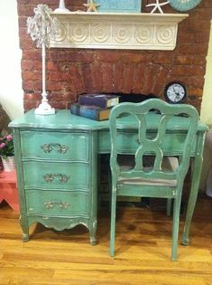 Shabby Chic Teal Desk Amp Antique Chair In Annie Sloan Chalk Paint In Florence And Old White
