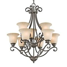 Kichler Lighting Camerena 30-In 9-Light Olde Bronze Mediterranean Tier