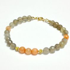 Peach Gray Bracelet Gold Vermeil Jewelry Coral by jewelrybycarmal, $42.00