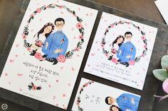 Illustration Weddiing Card(맞춤형 손그림 일러스트 웨딩카드 #)/일러스트 맞춤형 청첩장# 엽서형 한글...
