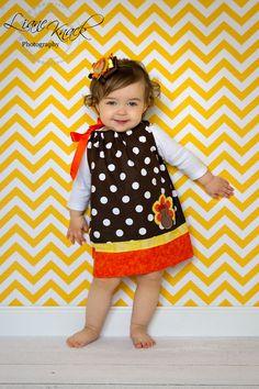 Cute Thanksgiving Turkey Pillowcase Dress Brown by molliepops, $28.00