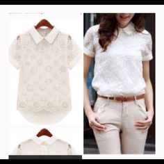"""Embroidered Lace Floral Top Very pretty lace embroidered top.  Bought from a fellow Posher for my daughter but it was a bit too small for her. Runs a bit small/snug.  Bust is 36.5-37"""".  Hi lo shirt. Tops"""