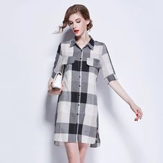 >> Click to Buy << 2016 autumn new leisure Plaid collar, sleeve double-breasted slim slim linen dress shirt dress #Affiliate
