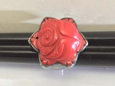 Brilliant Red Cinnabar Carved Rose & 925 Sterling Silver Ring, Signed PB 925, Size 7 by SterlingSterling on Etsy