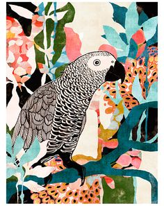 Parrot In The Jungle art print Art And Illustration, Illustration Inspiration, Illustrations, Jungle Art, Grafiti, Tropical Art, Tropical Prints, Art Graphique, Grafik Design