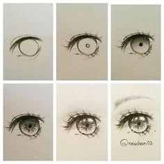 Manga Drawing Tips Eye drawing steps By . Anime Drawings Sketches, Anime Sketch, Eye Drawings, Pencil Drawings, Sketches Tutorial, Eye Tutorial, Drawing Skills, Drawing Tips, Drawing Ideas