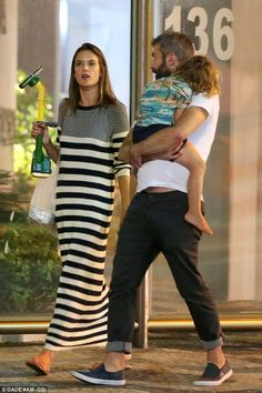 Off-duty: Alessandra Ambrosio was seen after dinner walking with her family and friends