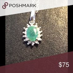 REAL EMERALD AND DIAMOND. Beautiful Emerald Natural Stone surrounded by  Diamonds in 925 Sterling Silver.  A magnificent, elegant and smart piece to wear any occasion. Jewelry Necklaces