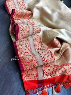 Katan Silk Banarasi- Cream Beige Red Orange – Panache-The Desi Creations Kora Silk Sarees, Bandhani Saree, Indian Silk Sarees, Kanchipuram Saree, Sari, Trendy Sarees, Stylish Sarees, Desiner Sarees, Indian Dress Up