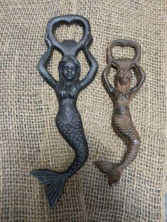 12 Mermaid Iron Beer Soda Bottle Opener Rustic Vintage Antique Style Ocean Sea