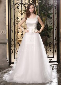Buy discount Chic Satin & Tulle Scoop Neckline Dropped Waistline A-line Wedding Dresses at Dressilyme.com