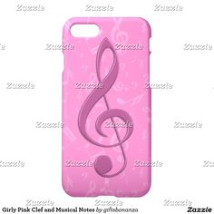 Girly Pink Clef and Musical Notes iPhone 7 Case. Great gift for the female musician or music lover