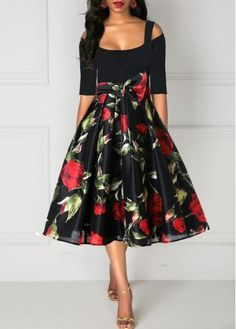 best=Rose Print Tie Waist Half Sleeve Cold Shoulder Dress , These 2020 prom dresses include everything from sophisticated long prom gowns to short party dresses for prom. Tight Dresses, Sexy Dresses, Dresses For Sale, Casual Dresses, Summer Dresses, Woman Dresses, Cheap Dresses, Sparkly Dresses, Flowing Dresses