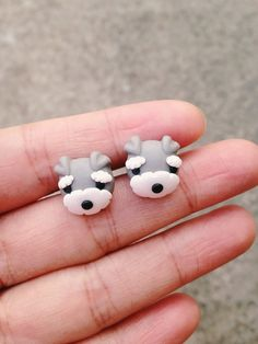 Handmade Polymer Clay Schnauzer Earrings from Noirlu Fimo Kawaii, Polymer Clay Kawaii, Polymer Clay Animals, Fimo Clay, Polymer Clay Projects, Polymer Clay Charms, Polymer Clay Art, Handmade Polymer Clay, Polymer Clay Earrings