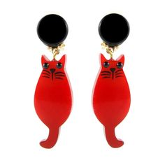 Marie Christine Pavone Hand Painted, Galalith - Red Cat Earrings (Clip-on)
