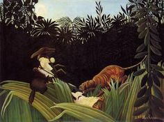 Henri Rousseau Scout Attacked by a Tiger painting, oil on canvas & frame; Henri Rousseau Scout Attacked by a Tiger is shipped worldwide, 60 days money back guarantee. Tiger Painting, Painting & Drawing, Post Impressionism, Impressionist, Henri Rousseau Paintings, Barnes Foundation, Wildlife Paintings, Naive Art, Magritte