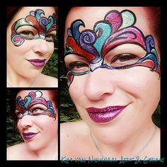 Colorful masquerade glitter mask facepaint