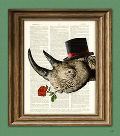 Rhino Art Print Care to Tango Rhinoceros with Rose by collageOrama, $7.99