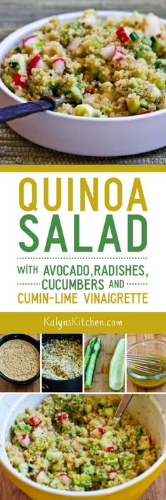 Quinoa is high in protein and has fiber, and I love this Quinoa Salad with Avocado, Radishes, Cucumbers, and Cumin-Lime Vinaigrette. If you want lower carbs in a salad like this, use more cucumber, radishes, and avocado and less quinoa. This tasty salad is also gluten-free, vegan, and South Beach Diet friendly. [found on KalynsKitchen.com]