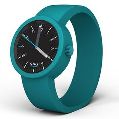 O Clock Watch - 60 Seconds Green and Black with Water Blue Strap