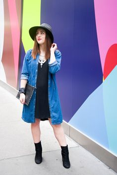 {The Vintage Denim Shirt Dress | Simply Audree Kate} Button up jean dress layered over a black dress and chunky silver statement necklace