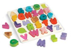 Wooden+Puzzles+for+Toddlers | Janod Modern Wooden Chunky Alphabet Puzzle for Kids