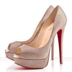 Christian Louboutin Lady Peep 150mm Leather Pumps Gold $168.00  http://www.christianlouboutinsany.com/sale/Christian-Louboutin-Lady-Peep-150mm-Leather-Pumps-Gold-54.html