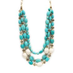 Leslie Danzis Three Strand Stone and Cut Glass Long Necklace #VonMaur