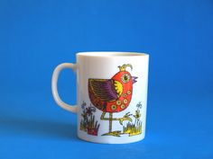 Retro Chicken Flower Power Psychedelic Bird Mug - Vintage Hippie Mod Bird Porcelain Coffee Cup - Made in Japan by FunkyKoala on Etsy
