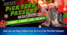 I entered the Holiday Pick Your Pair Sweepstakes from Dan Post. I get one bonus entry for everyone that enters from this link so help me out and enter for your chance to win a new pair of boots too!