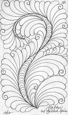 twisting the spine - rectangle feather with curls