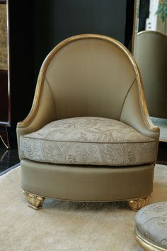 Embroidered and Gold Leaf Salon Chair attributed to Paul Follot upholstered in golden olive silk with embroidered seat cushions. Frame and feet in 22K gold leaf.