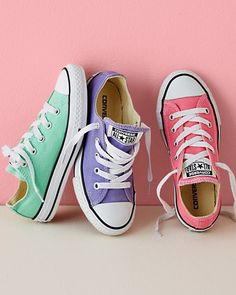 Converse Chucks, Sizes 02-3 love these colors for spring/summer, do pink laces with purple and purple with the pink.