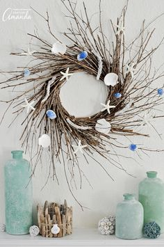 Make your own nautical wreath with branches and seashells - DIY home decor - beach wreath - beach house decoration