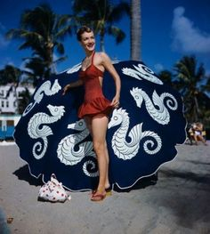 I want a t-shirt with the seahorses from this vintage '50's beach umbrella.