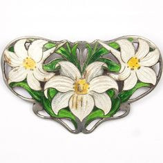 Art Nouveau Sterling Enamelled Lillies Pin, attributed to Watson Newel Co. (1895-1910)
