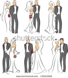 Silhouette of bride and groom, background, wedding invitation, the vector by Virinaflora, via Shutterstock