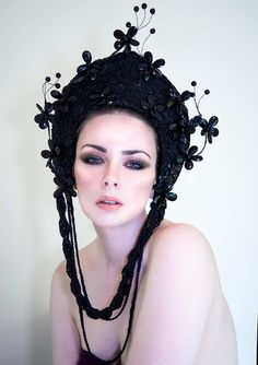 Black Beaded 'Dark Garden' Flower Kokoshnik by livfreecreations