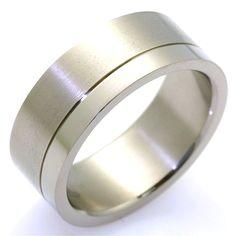 NEW Men/'s Wedding Band Titanium Ring Size 8.5 Comfort Fit Matte Stripe Mon Cheri